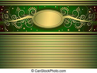 carte or, (vector), vert, vendange