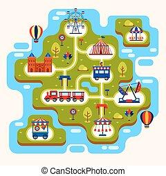 carte, parc, amusement, attractions