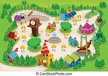 carte, parc, amusement
