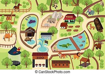carte, parc, zoo