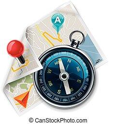 carte, parcours, /, vecteur, navigation, xxl