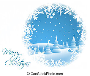 carte, paysage hiver, neigeux