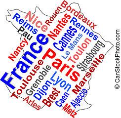 carte, plus grand, france, mots, villes, nuage