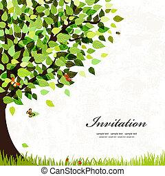 carte postale, arbre, conception