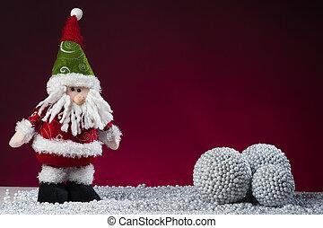carte postale, claus, santa, année, nouveau, rouges