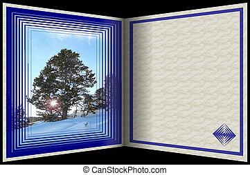 carte postale, hiver, stockage, image