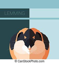carte postale, plat, lemming