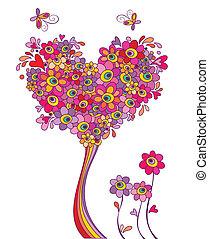 carte postale, rigolote, arbre, salutation