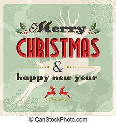 carte postale, vendange, joyeux, année, nouveau, noël, heureux