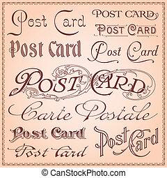 carte postale, vendange, letterings