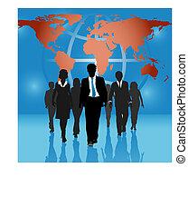 carte, professionnels, global, fond, équipe, mondiale