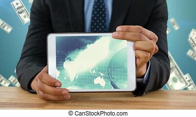 carte, projection, tablette, mondiale