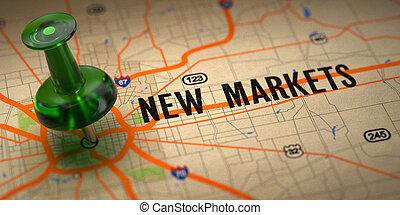 carte, pushpin, -, arrière-plan., vert, nouveau, marchés