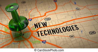 carte, pushpin, -, arrière-plan., vert, nouveau, technologies