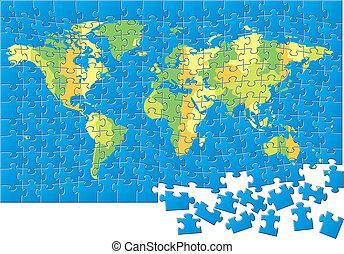 carte, puzzle, mondiale