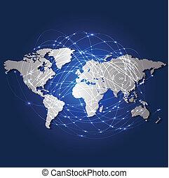 carte, réseau, illustration, vecteur, mondiale, technologie, maille