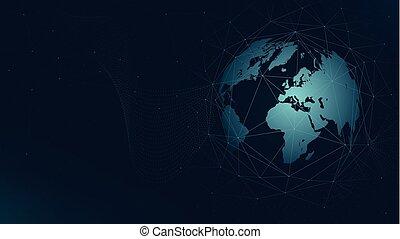 carte, réseau, plexus, connexion globale, vecteur, fond, mondiale, technologie, futuriste