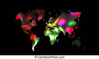 carte, render, worldmap, plat, backdroung, globe, fond, noir, icône, mondiale, coloré, la terre, 3d