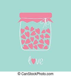 carte, rose, pot, bouteille, intérieur., aimez coeurs
