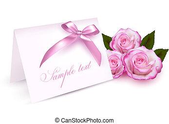 carte, roses, salutation, beauté