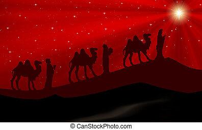 carte rouge, fond, nativité, noël scène