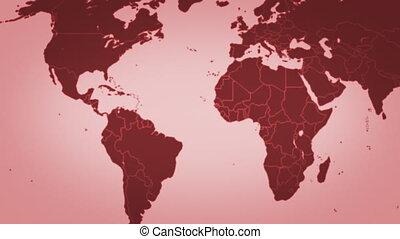 carte, rouges, boucle, mondiale