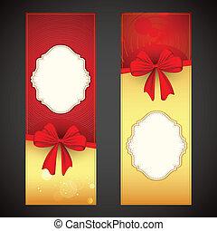 carte, ruban, salutation, attaché, arc