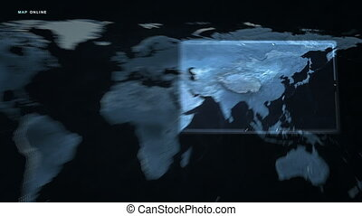 carte, russie, asie, numérique