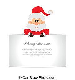 carte, salutation, claus, santa