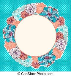 carte, salutation, hand-drawn, fleurs, couronne