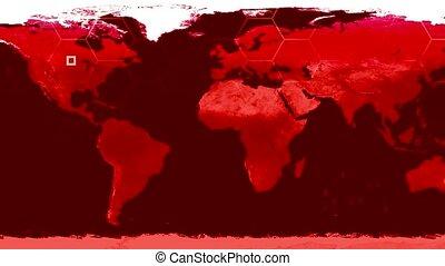 carte, satellite, salle, technologie de pointe, 4k, monde numérique, données, guerre, vue