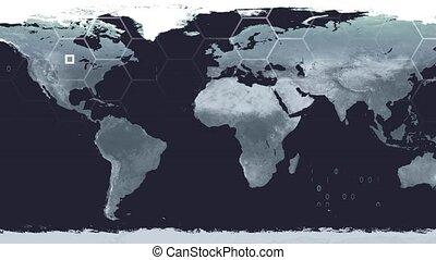 carte, satellite, salle, technologie de pointe, monde numérique, données, guerre, vue