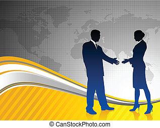 carte, silhouettes affaires, fond, équipe, mondiale