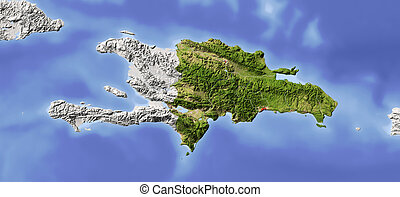 carte, soulagement, république dominicaine, ombragé