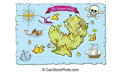 carte, style, île, trésor, main, animation, dessiné