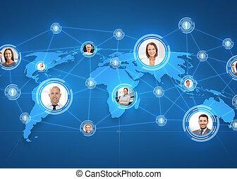 carte, sur, businesspeople, mondiale, images
