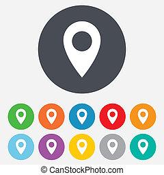carte, symbole., emplacement, icon., indicateur, gps
