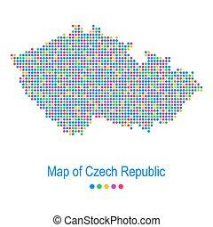 carte, tchèque, modèle, vecteur, république, point