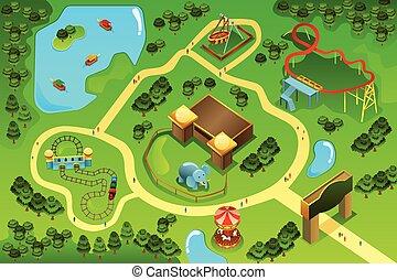 carte, thème, parc attractions