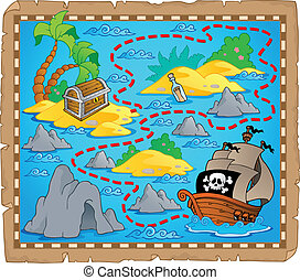 carte, thème, trésor, image, 3