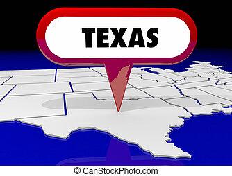 carte, tx, épingle, destination, illustration, état, emplacement, texas, 3d