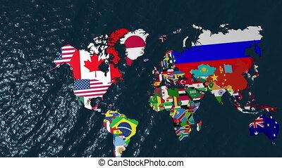 carte, usa, zoom, drapeau, mondiale, 3d