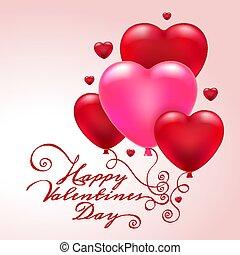 carte, valentin, coeur, 3d, ballons