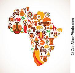 carte, vecteur, afrique, icônes