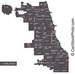 carte, vecteur, district, chicago