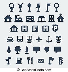 carte, vecteur, ensemble, isolé, icônes