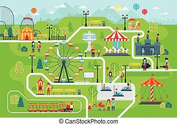 carte, vecteur, plat, parc, infographic, amusement, éléments, design.