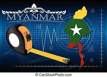 carte, vecteur, règle, myanmar
