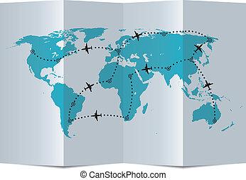 carte, vecteur, routes vol, avion papier