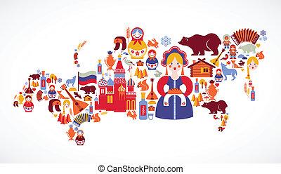 carte, vecteur, russie, icônes